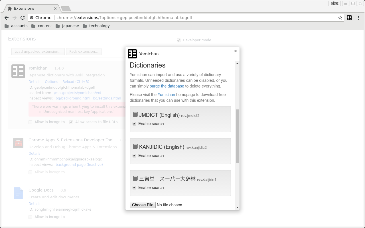 GitHub - FooSoft/yomichan: Japanese pop-up dictionary extension for